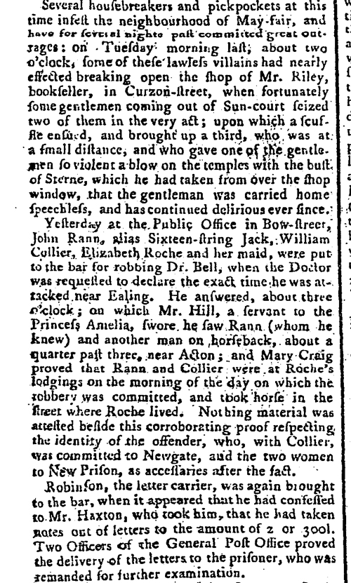 A newspaper description of proceedings at Bow Street Court, 1774