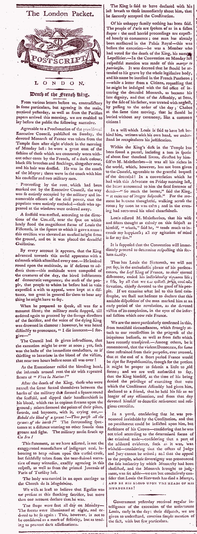 Newspaper report of the execution of French King Louis XVI, January 1793