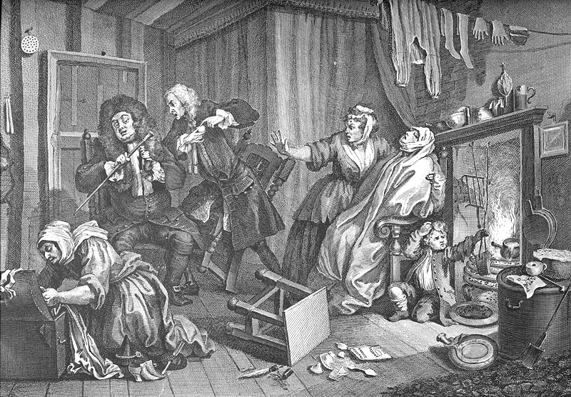 Hogarth's Harlot dies of veneral disease in an overcrowded, squalid living space, 1732