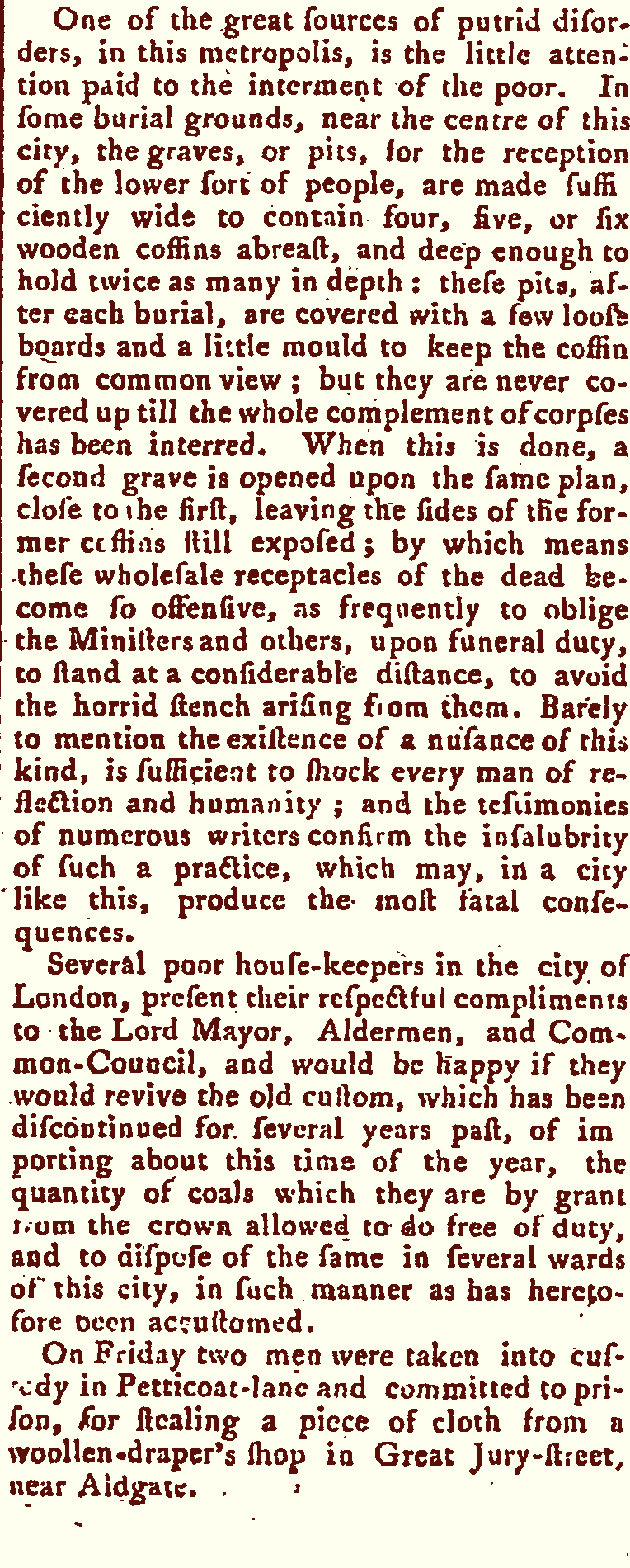 News article, Burying the dead in London, Morning Chronicle, 9 February 1778