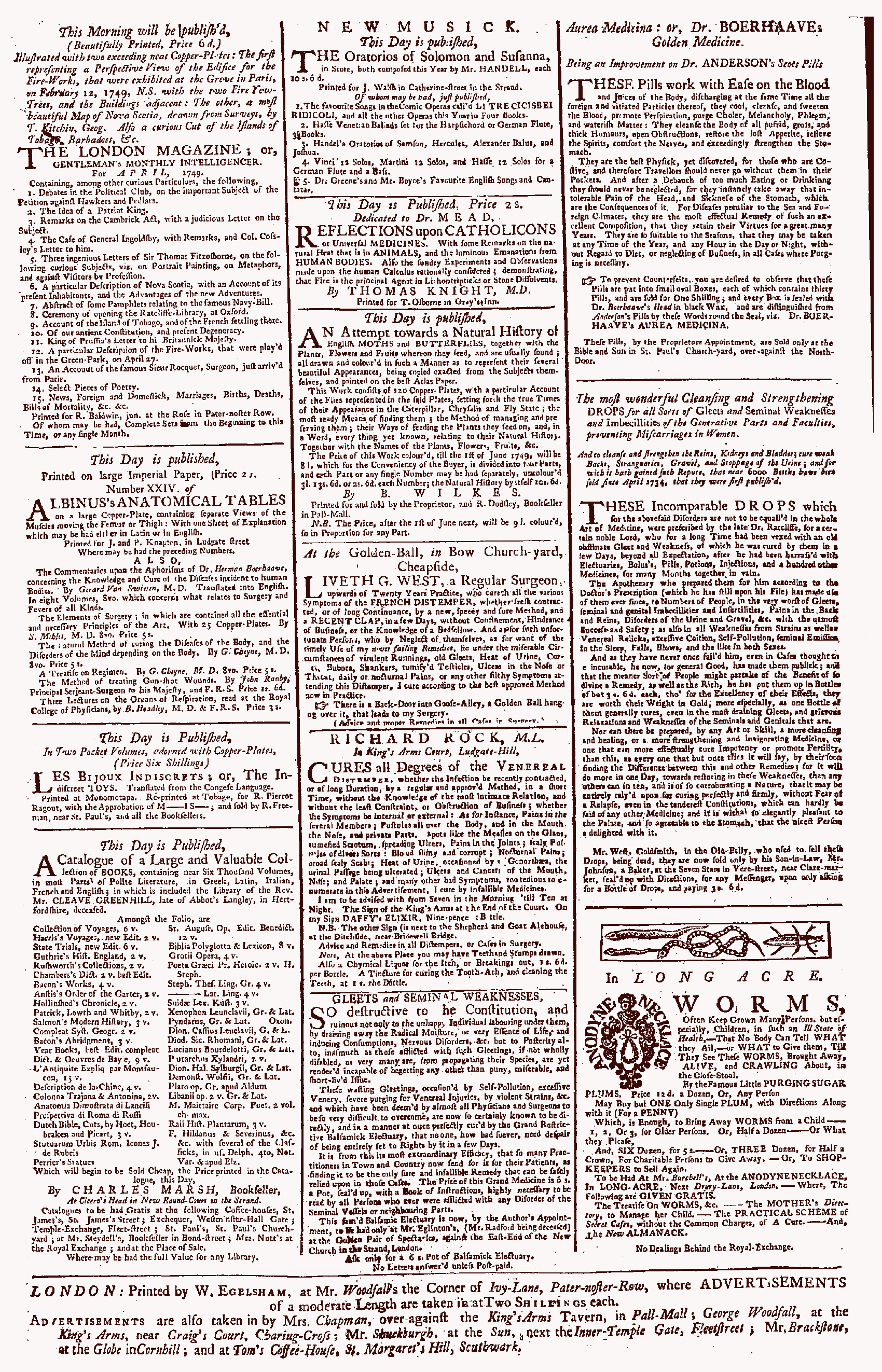 Newspaper page including adverts for pills and potions, 1744