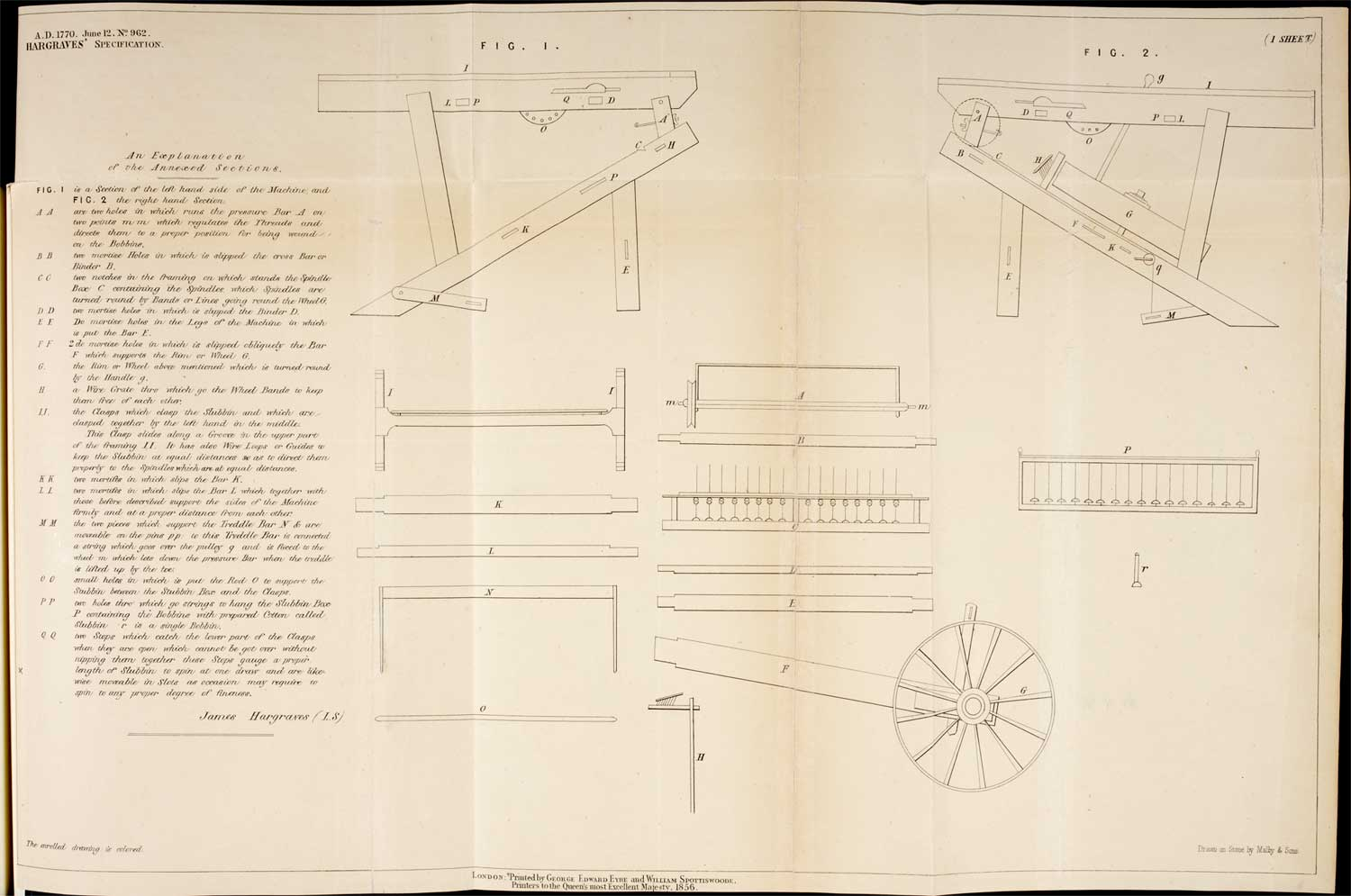 Original patent for the Spinning Jenny, 1770