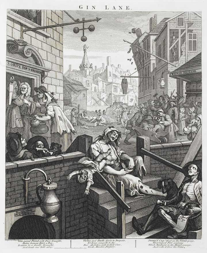 Hogarth's grim depiction of a society addicted to gin, 1751