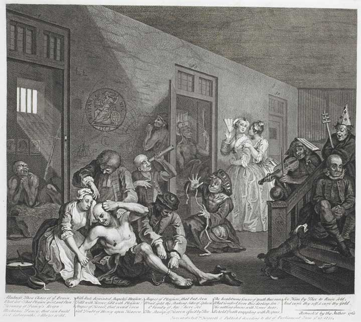 Illustration of Bedlam, by William Hogarth, 1735