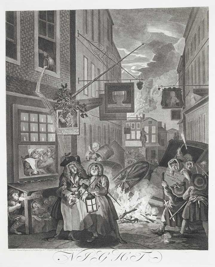 City at night, as depicted by Hogarth, 1738