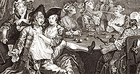 Drunkenness and debauchery at London tavern in Hogarth's Rake's Progress, 1733
