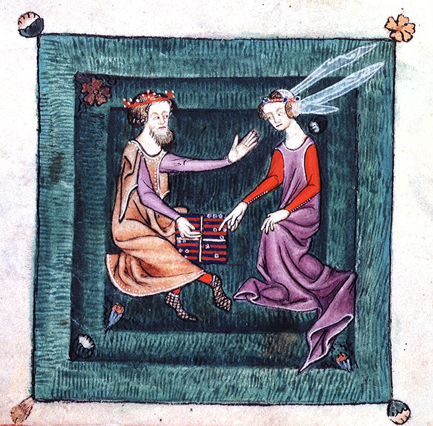 Image from The Luttrell Psalter - Playing backgammon