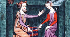Detail from The Luttrell Psalter - Playing backgammon