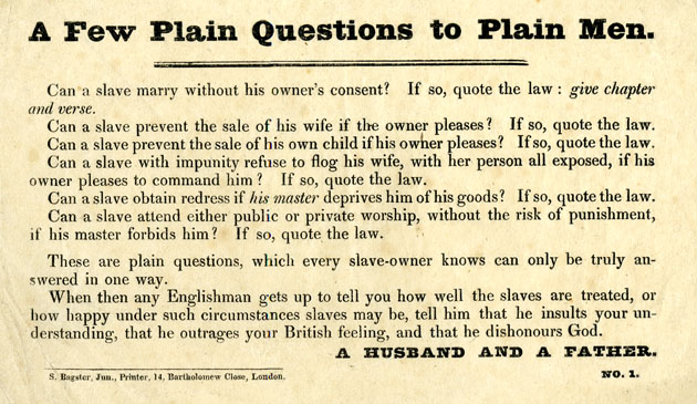 'A Few Plain Questions' Election Handbill