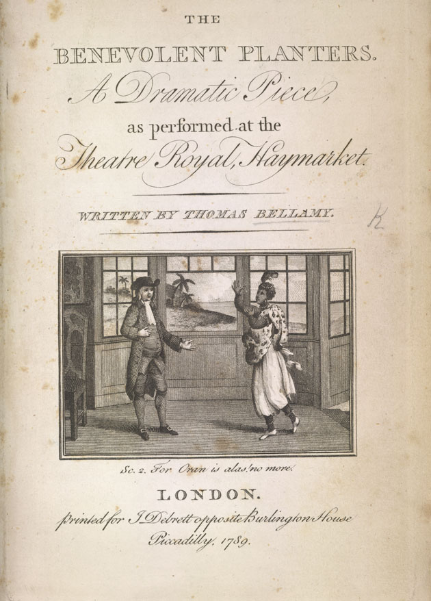 Title Page of the play 'The Benevolent Planters'