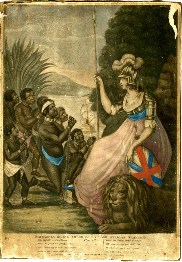 Britannia freeing slaves