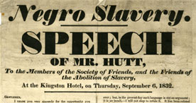 A poster for an anti-slavery speech
