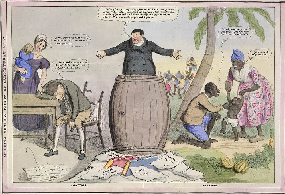 Cartoon comparing working class 'slavery' with slavery in the West Indies
