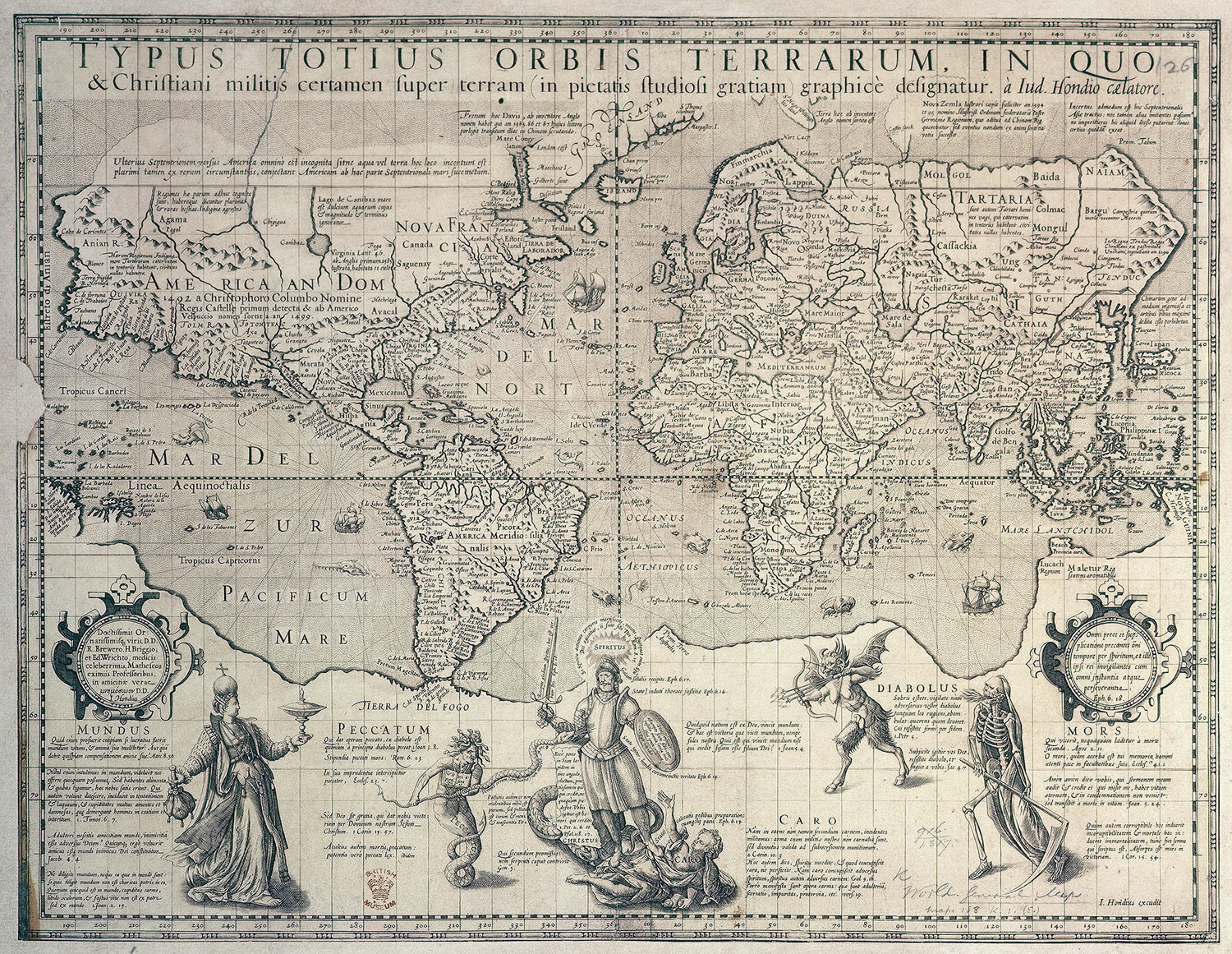 Image of Christian knight world map, c.1596