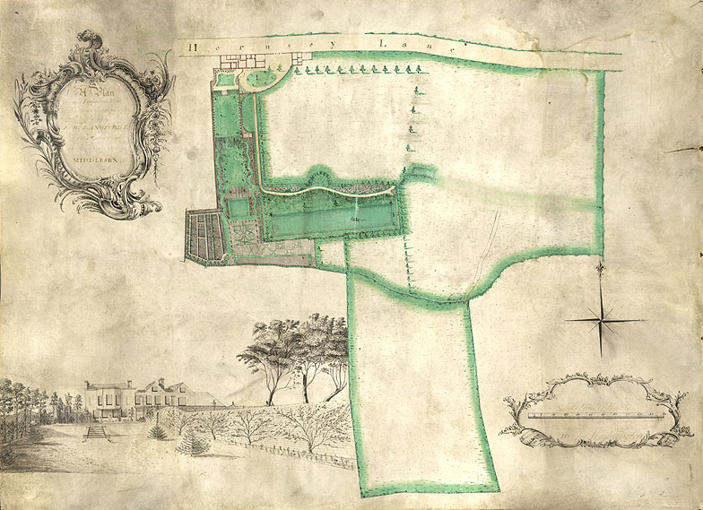 Image of map showing Robert Langford's estate
