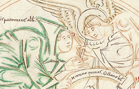 Image of an angel, from The Arundel Psalter, Arundel 155 f.9v, c.1012