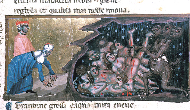 The punishment of carnal sinners in Dante's Divine Comedy, Egerton 943 f.10v, c.1325-1350