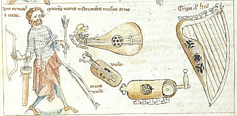 Instruments including a harp, viola, lute and hurdy-gurdy, Sloane 3983 f.13, c.1350-1375