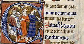 A decorated initial with musicians, Add. 62925 f.97v, c.1260