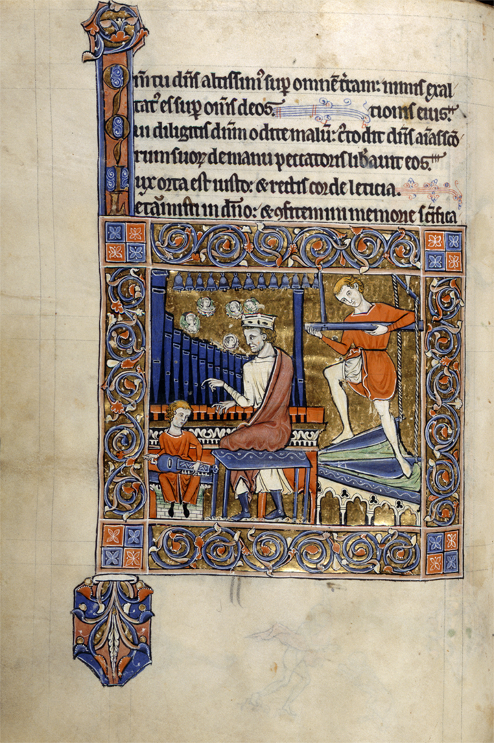 Organist with bellows boys and hurdy-gurdy player, Add MS 62925, f.97