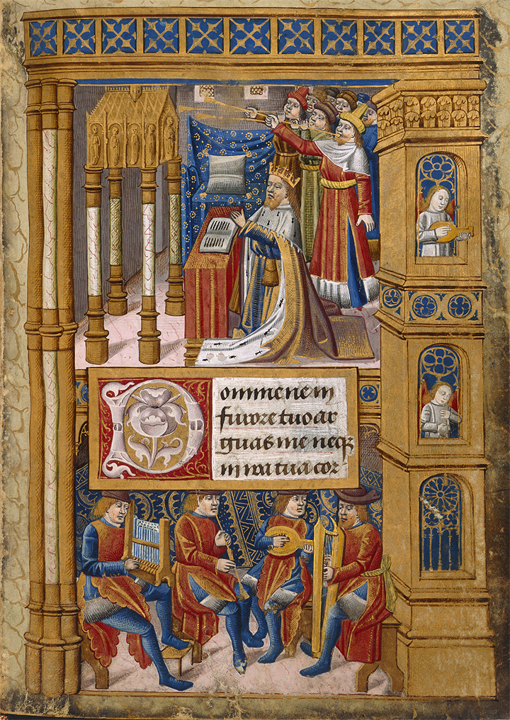 Miniature of King David in prayer, with music making angels and men, Harley MS 2917 f.13