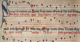 Musical manuscript for the medieval song 'Sumer is icumen in', Harley 978 f.12v, 1275-c.1300