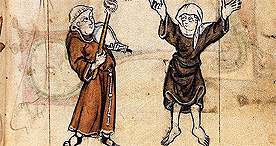 Marginal image of a friar with a musical instrument and a nun dancing, Stowe 17 f. 38, c.1300-1325