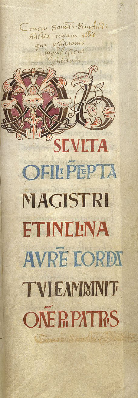 A Decorative letter from the Rule of St Benedict, Harley 5431 f.7, c.1000