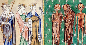 The three living and the three dead princes, Arundel 83 II f.127, c.1310-1320