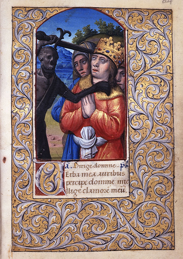 An encounter with death, Harley 2936 f.84, c.1500
