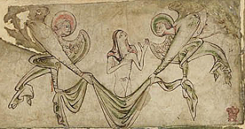 A soul being carried to heaven by angels, Egerton 2849, c. 1220 - 1230