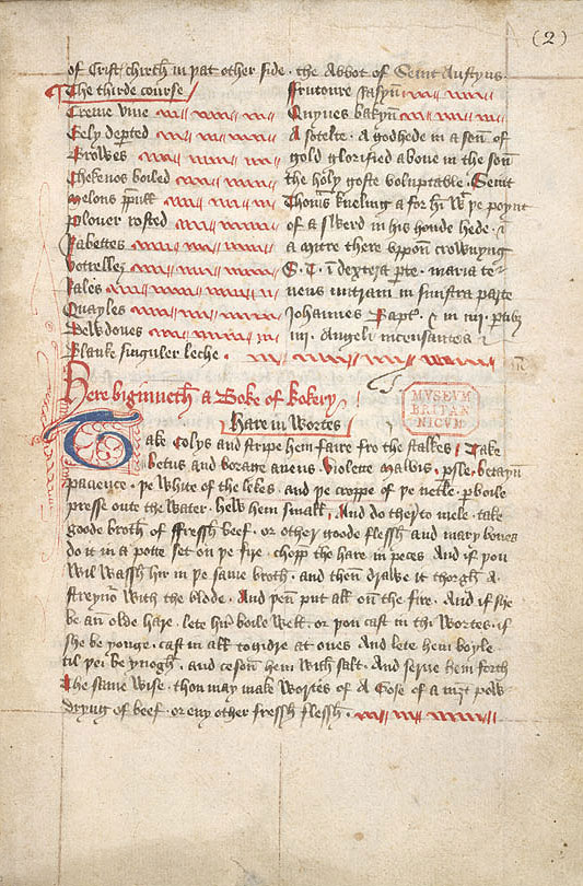 An extract from the Boke of Kokery - Soteltes and Wortes, Harley 4016, c.1440