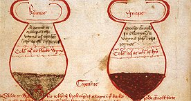 Glasses showing urine of different hues, Sloane 7 f.59v, c.1400