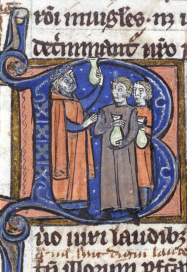 A doctor teaches urine examination to two students, Harley 3140 f. 32v, c. 1300