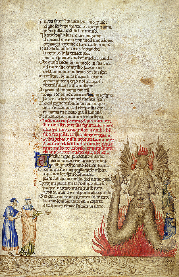 Satan chews sinners with each of his three mouths, Add 19587 f.58r, c.1370