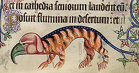 Illuminated monsters in the margins of the Luttrell Psalter, Add 42130 f.197r, c.1325-1335