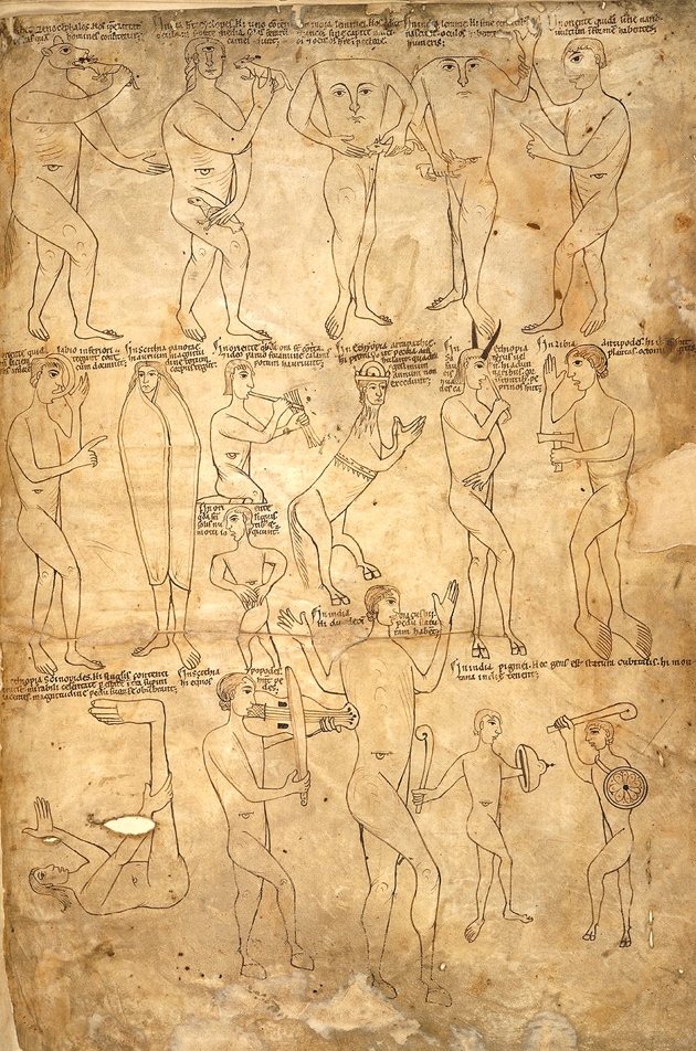 Seventeen examples of the 'monstrous races', Harley 2799 f.243r, c.1175 f.243r