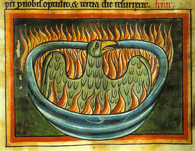 A phoenix rising from flames, Harley 4751 f.45, 1250-1300