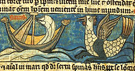 A mythical sea creature taken from a Bestiary, Sloane 278 f.51, 1250-1300