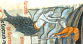 A siren lures a man to his death, Sloane 278 f.47, 1250-1300