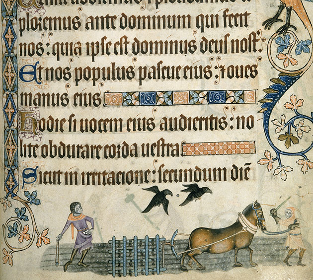 Harrowing as depicted in the Luttrell Psalter, Add. 42130 f.17v, c.1325-1335
