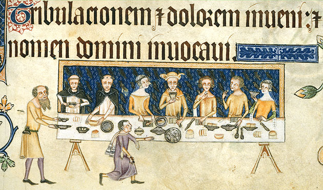 Geoffrey Luttrell dining with his family, Add. 42130 f.208, c.1325-335