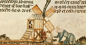 Woman sets a mill on fire, Royal 10 E IV f.71, c.1340