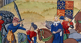 The death of Wat Tyler, Royal 18 E I f.175, c.1460-80