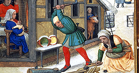 Chopping wood in January, Add. 24098 f.18v, 1520-1530