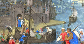 Boats leave a city by night, Egerton 1065 f. 116v, c.1480