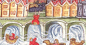 Child falling off London Bridge, Yates Thompson 47 f.94v, c.1461-1475