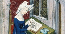 A woman studying, Harley 4431 f.4r, c.1410-1415