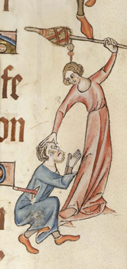 A woman beating a man with a distaff, Add. 42130 f.60, c.1325-1335