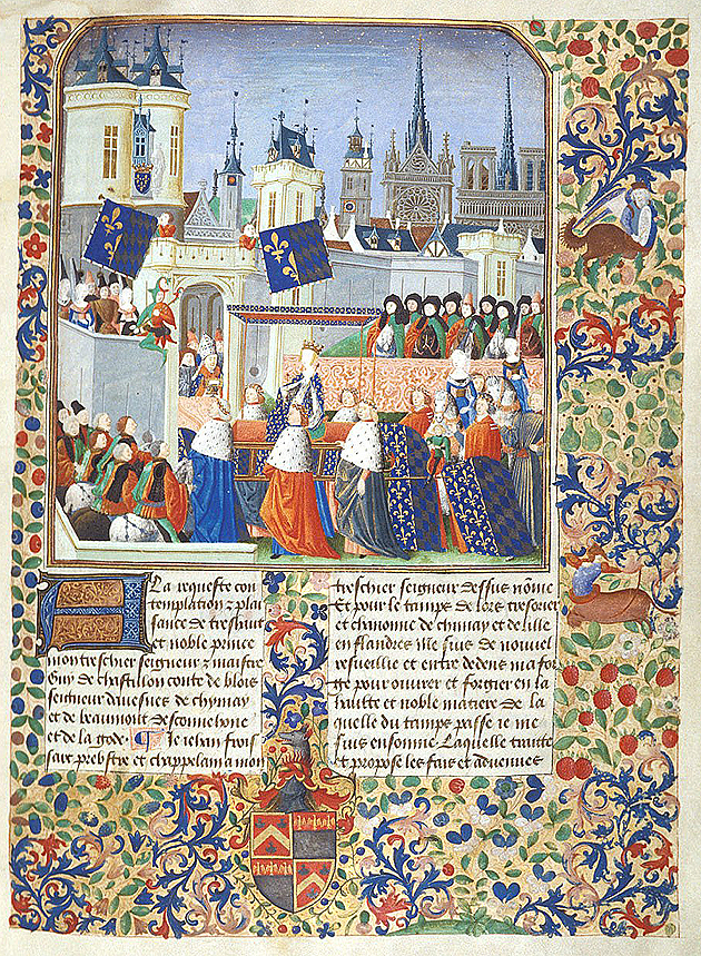 Queen Isabella in procession, Harley 4379 f.3, c.1470-1472